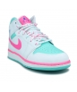 AIR JORDAN 1 MID WHITE PINK GREEN SOAR GS 555112-102