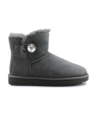 UGG W MINI BAILEY BUTTON BLING GREY 1016554